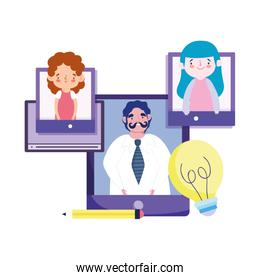 online education teacher and students smartphone devices technology