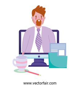 online education male teacher in video computer folder and coffee