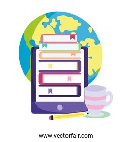 online education smartphone stack of ebooks and pencil