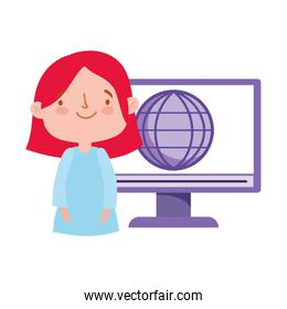 online education student girl computer world learning class
