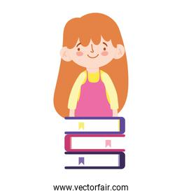 online education student girl and books stacked homework