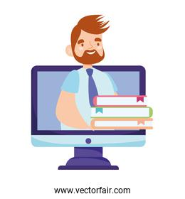 online education male teacher and books internet computer