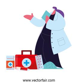 Female doctor in medical uniform with mask and medicine kit