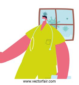 Doctor with mask and gown to prevent coronavirus
