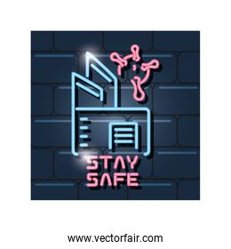 symbol of stay safe in neon light