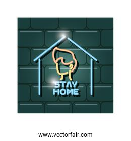 symbol of stay at home in neon light