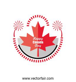happy Canada day with maple leaf