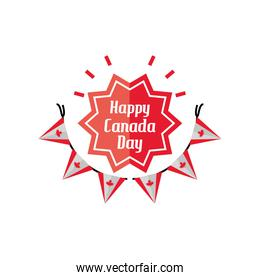 happy canada day with garland and decoration