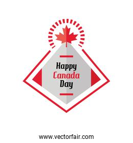 happy canada day label with flag
