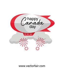 happy Canada day with airship dirigible balloon
