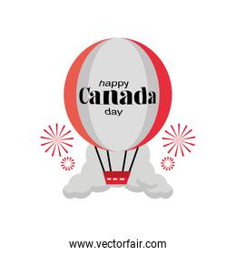 happy Canada day with balloon hot air