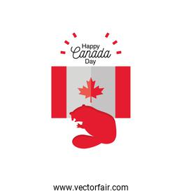 happy canada day with flag and beaver