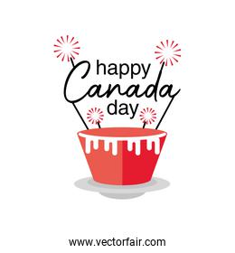 happy canada day with cupcake, national holiday
