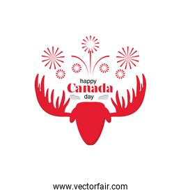 happy Canada day with a moose and firework