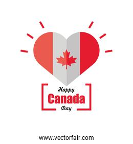 happy canada day, Canadian flag with heart decoration