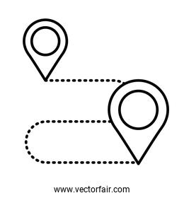 pins pointers in the route location line style