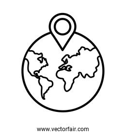 earth planet with pin pointer location line style
