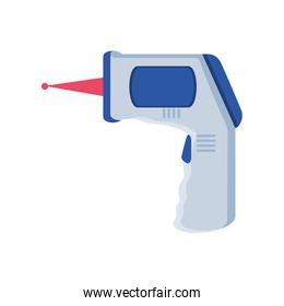 Infrared non contact temperature thermometer gun on white background