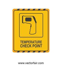 temperature check point on white background