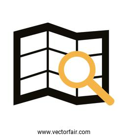 magnifying glass with paper map line style
