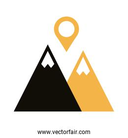 mountain with pin pointer location line style