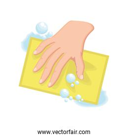 cleaning with dishcloth on white background