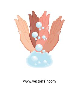 washing hands with water and soap on white background