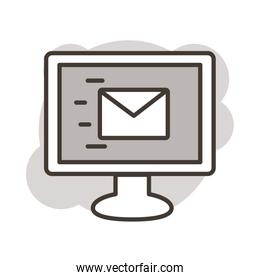 desktop with envelope mail line style icon