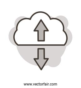 cloud computing with arrows line style icon