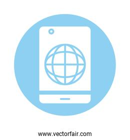 smartphone with sphere browser line style