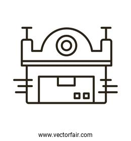warehouse building facade delivery service line style icon
