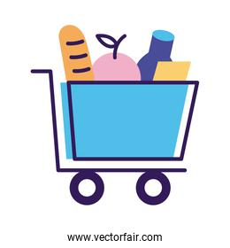 groceries in shopping cart delivery service line and fill style