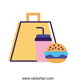 burger and soda in shopping bag delivery service line and fill style