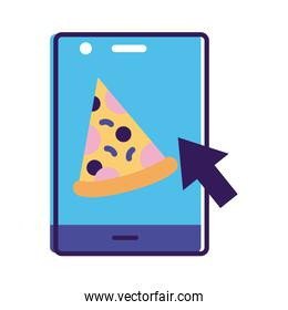 smartphone with pizza delivery app line and fill style icon