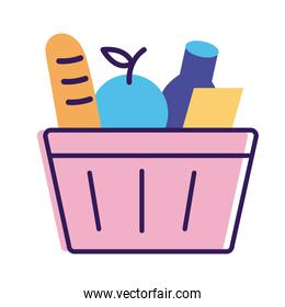 groceries in shopping basket delivery service line and fill style