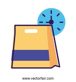 food paper bag with watch line and fill style icon