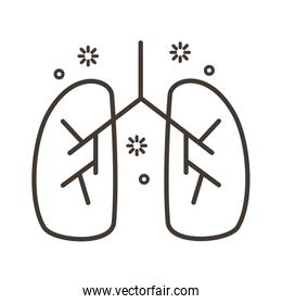 human lungs with covid19 line style icon