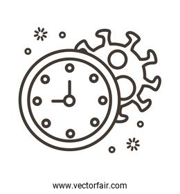covid19 virus particle with clock line style