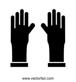 rubber gloves with covid19 particles silhouette style