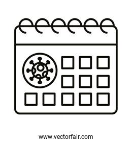 calendar with covid19 virus particle line style