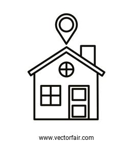 house with pin location line style