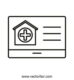 template web with house and medical cross line style over white