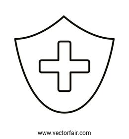 medical cross symbol with shield line style