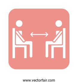 figures humans in chairs with arrows social distance line style