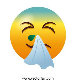 emoji with cold sick degradient style