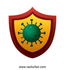 shield with covid19 virus particle degradient style
