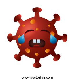 covid19 particle crying emoticon character
