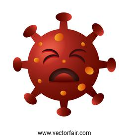 covid19 particle sad emoticon character
