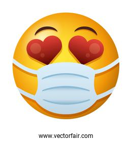 emoji lovely wearing medical mask degradient style