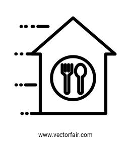house with fork and spoon delivery service line style